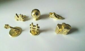 SET OF 6 GOLD METAL MONOPOLY TOKENS  LOT2