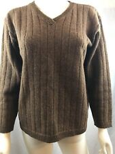 Vtg Express Tricot 100% Wool Womens Sweater V Neck Brown Size Small (D25)