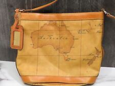 Alviero Martini 1A Classe Global Geo Map Medium Bucket Bag Italy Australia