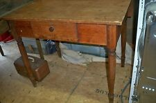 Antique Pegged Hand Made Tavern /Farm Table w/ One Drop Leaf Turned Legs Drawer