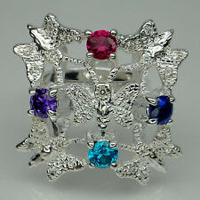 WONDROUS! AMETHYST & SAPPHIRE & RUBY & APATITE STERLING 925 SILVER RING SZ# 6.75