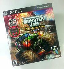 Monster Jam: Path of Destruction Bundle w/ Wheel for PS3 + Chad Tingle Autograph