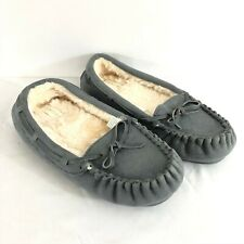 Fantiny Moccasin Slippers Faux Suede Faux Fur Lined Gray Slip On Size 7