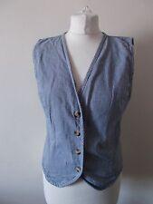 Women's Blue White Check V Neck Waistcoat Vest by Rocky Clothing Size M