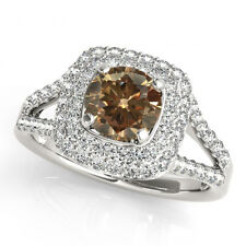 1.50 Carat Natural Champagne Brown Diamond Solitaire Ring 14k White Gold Beauty