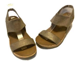 Skechers Ladies Sandals Size 38 Neutral Cork Wedge Foam Comfort Slip On Casual