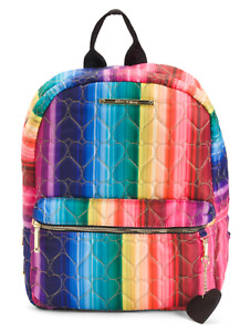 NWT Betsey Johnson Puffy Heart Rainbow Backpack Embroidered Heart MSRP $98