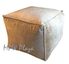 Moroccan Pouf Ottoman, Square Velvet by MPW Plaza - Vanilla (Stuffed)