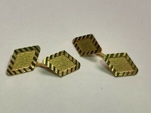 BEAUTIFUL VINTAGE 18 KARAT GOLD VINTAGE DIAMOND SHAPED CUFF LINKS ART DECO ITALY