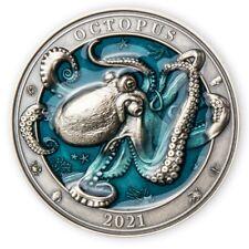 Octopus Underwater World 3 oz Antigue finish Silver Coin 5$ Barbados 2021