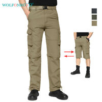 Mens Quick Dry Zip Off Convertible Hiking Pants Cargo Pants Army Fishing Shorts