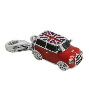 925 Sterling Silver & Enamel Mini Car Clip on Charm British Flag Cars Charms