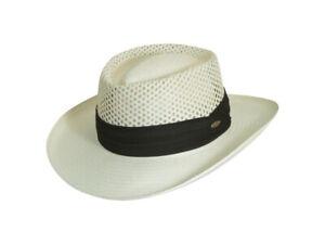 "Men Natural toyo hat Scala ROANOKE Crown hat gambler 3 1/4"" Brim 3-Pleat Cotton"