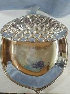 "Slatkin & Co Acorn Plate Silver Tone Candle Holder Fall Autumn Harvest BBW 8x10"""