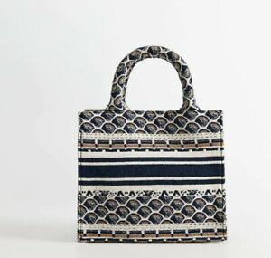 BNWT Mango Blue/Multi Embroidered Cotton Canvas Mini Tote Bag ..