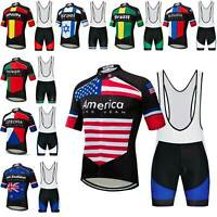 2019 Countries Team Cycling Jersey and Bib Shorts Men's Bike Clothing Set S-5XL