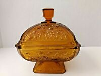 Vintage Jeannette Glass Oak Leaf & Acorn Candy Dish, Square Bowl with Cover
