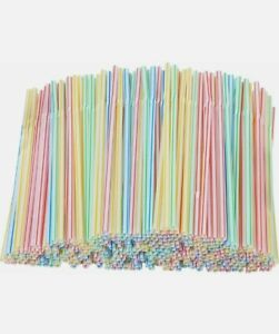225 x Striped Neon Straws Bendy Assorted Coloured Birthday Party Drinking UK
