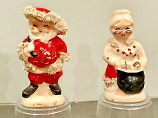 Vintage Christmas Napco Santa and Mrs Claus Salt and Pepper Japan Spaghetti Trim