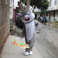 Halloween Easter Bunny Grey Rabbit Bugs Mascot Costume Suits Dress Adults Outfit