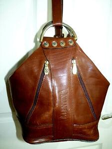 Vintage VALENTINA Tan Leather Bucket Shoulder BAG Made in Italy