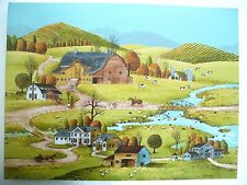 Early Sunrise Farm Art Painting Signed H Evans Country Farm Town Setting