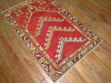 Antique Turkish Melas Oushak Prayer Rug Size 3'x4'7''