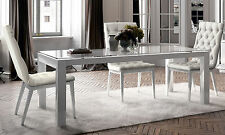 Esstisch Glasplatte Erweiterung Bis 300cm Massiv Weiss Lackiert Modern Italien