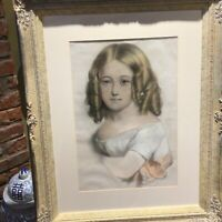 19th century half length pastel painting of a young girl.