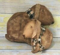 Large and Small Brown Rabbit Set / Primitive Rabbit Bowl Fillers