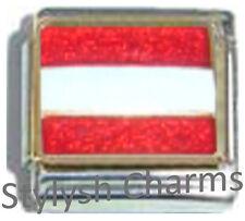AUSTRIA AUSTRIAN FLAG Ceramic Italian Charm 9mm - 1 x PQ003 Single Bracelet Link