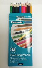 12 Colouring Pencils Assorted Colours Classmaster CPW12 Ideal Party Bag Fillers