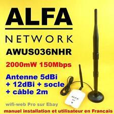 Carte Wifi Alfa AWUS036NHR 2000 mW Antenne 5 dBi + 12 dBi + socle