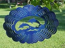 Two Playing Dolphins in Blue Oval Laser Metal Hanging - Made in the USA Spinner