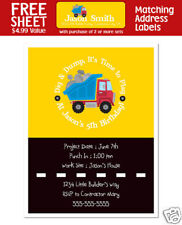 8 Dump Truck Construction Birthday Party Personalized Invitations