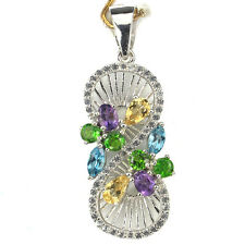 REAL AMETHYST,CHROME DIOPSIDE,CITRINE,TOPAZ,CZ 925 SILVER INFINITY PENDANT Chain