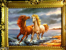 Pferde Bild 90x70 Pferd Gemälde Pferde am Strand Barock Wandbild  Kunstdruck T7