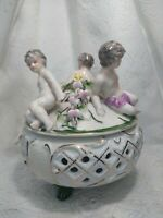Vintage Antique Unbranded Porcelain Lidded Jewelry Box with 3 Cherubs Victorian.