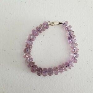 Light Purple Amethyst Carved Pumpkin Melon Bead Bracelet Sterling Silver Clasp