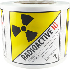 Hazard Class 7 D.O.T. Radioactive III Labels 4x4 Inch Square 500 Adhesive Labels