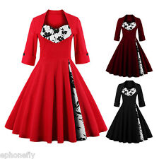 Plus Size S-4XL Vintage Style 50s Rockabilly Retro Swing Housewife Party Dress