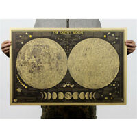 vintage paper earth moon world map poster home decoration wall sticker PY