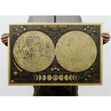 vintage paper earth moon world map poster home decoration wall sticker XZ