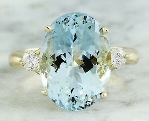 6.71 Carat Natural Aquamarine 14K Yellow Gold Diamond Ring