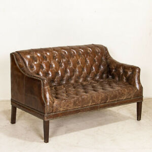 Authentic Vintage Leather Chesterfield Loveseat from England