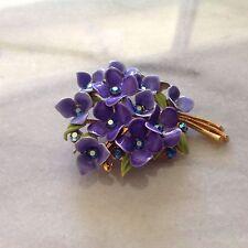 Vintage Purple Flower Rhinestone Enamel Brooch Pin Back Gold Stem
