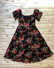 Express Off The Shoulders Black Floral Midi Dress Fit And Flare Size 8 Spring
