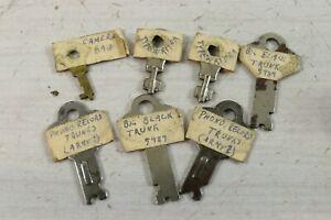 Lot of 7 Antique Steamer Trunk Keys Typewriter Case Camera Bag Flat Cut Skeleton