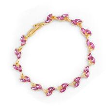 Fashion 18k Yellow Gold Plated Austrian Crystal Leaf Chain Bracelet Bangle