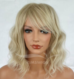 LIGHT BLONDE MIX WIG LADIES WOMENS WAVY SHOULDER LENGTH BOB STYLE UK SELLER